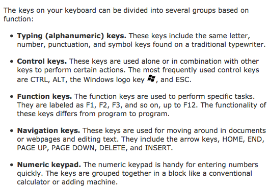 Parts of the keyboard and functions