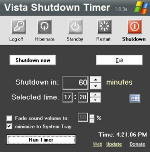 Windows 8 shutdown timer