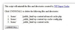 Uninstall Super cache from plugin list