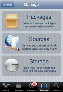 Cydia Manage option