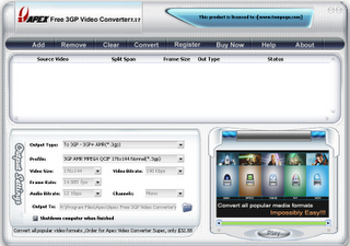 Apex DVD , VCD ,MPEG,AVI to 3GP converter for Windows border=