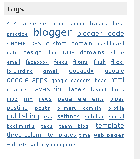 simple label cloud in Blogger