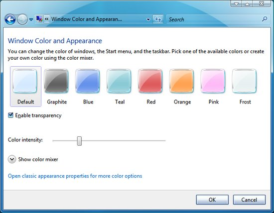 Use Windows 7 window color and appearance in Windows Vista