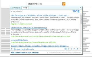 How to add a Bing search box to a website/ blog