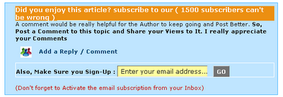 Email subscription form below Blogger posts