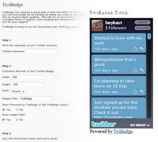 TwiBadge Twitter plugin