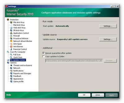 settings  Kaspersky internet security 2010