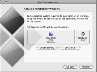 partition space for Windows7 Mac OS X
