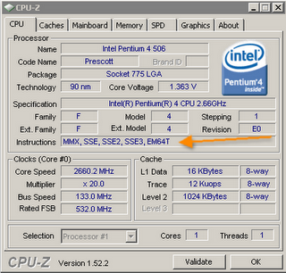 Check 64 bit Windows 7 support with CPUZ